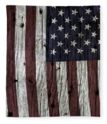 Grungy Textured Usa Flag Fleece Blanket