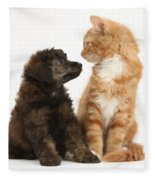 Kitten And Puppy Fleece Blanket