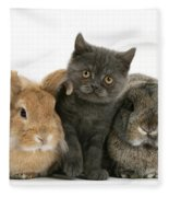 Kitten And Rabbits Fleece Blanket