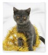 Kitten With Tinsel Fleece Blanket
