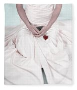 Lady With A Rose Fleece Blanket