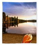 Lake Sunset With Canoe On Beach Fleece Blanket