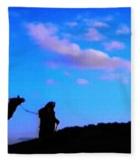 2 Late Evening Beduin Camel Walk In The Desert  Fleece Blanket
