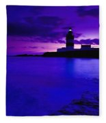 Lighthouse Beacon At Night Fleece Blanket