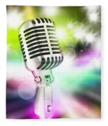 Microphone On Stage Fleece Blanket