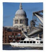 Millenium Bridge And St Pauls Cathedral Fleece Blanket