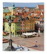 Old Town In Warsaw Fleece Blanket
