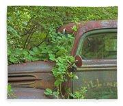 Overgrown Rusty Ford Pickup Truck Fleece Blanket