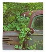 Overgrown Rusty Ford Pickup Truck Fleece Blanket