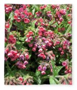Pulmonaria Named Raspberry Splash Fleece Blanket