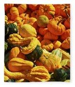 Pumpkins And Gourds Fleece Blanket