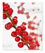 Red Christmas Berries Fleece Blanket