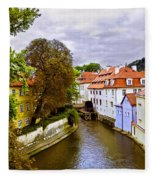 Red Roofs Of Prague Fleece Blanket