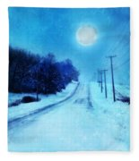 Rural Road In Winter Fleece Blanket