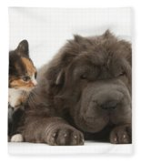 Shar Pei Puppy And Tortoiseshell Kitten Fleece Blanket