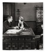 Silent Film Still: Offices Fleece Blanket