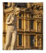 Statue Below Musee Du Louvre Fleece Blanket