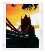Sunset At Tower Brigde Fleece Blanket