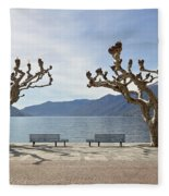 sycamore trees in Ascona - Ticino Fleece Blanket