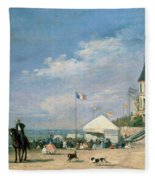 The Beach At Trouville Fleece Blanket