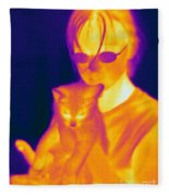 Thermogram Of A Girl And Cat Fleece Blanket