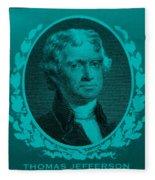 Thomas Jefferson In Turquois Fleece Blanket
