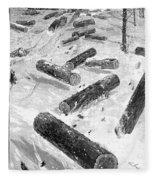 Wisconsin: Lumbering, 1885 Fleece Blanket