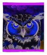 2011 Dreamy Horned Owl Negative Fleece Blanket