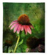 3 Amigos Echinacea Coneflower Grunge Art Fleece Blanket