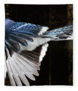 Blue Jay In Flight Fleece Blanket