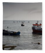 Boats Moored Off Of Leigh Essex Fleece Blanket