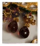 3 Hanging Semi-precious Stones Attached To A Green And Gold Necklace Fleece Blanket