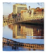 Hapenny Bridge, River Liffey, Dublin Fleece Blanket