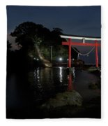 3 Kawasaki W At The Arahira Shrine Fleece Blanket
