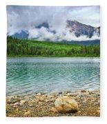 Mountain Lake In Jasper National Park Fleece Blanket
