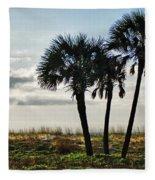 3 Palms On The Beach Fleece Blanket
