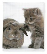 Rabbit And Kitten Fleece Blanket
