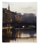 River Liffey, Dublin, Co Dublin, Ireland Fleece Blanket