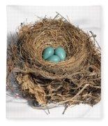Robins Nest With Eggs Fleece Blanket