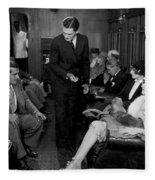 Silent Film Still: Trains Fleece Blanket