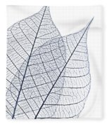 Skeleton Leaves Fleece Blanket by Elena Elisseeva