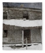 Snowy Abandoned Homestead Porch Fleece Blanket