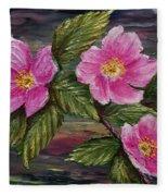 3 Wild Roses Fleece Blanket