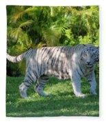 35- White Bengal Tiger Fleece Blanket