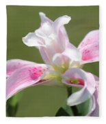 Double Oriental Lily Named Magic Star Fleece Blanket