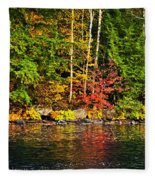 Fall Forest And River Landscape Fleece Blanket