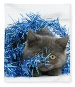 Kitten With Tinsel Fleece Blanket