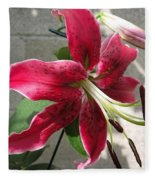 Orienpet Lily Named Scarlet Delight Fleece Blanket