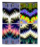 4 Panel Look Hearts Ud Fractal 64 Fleece Blanket