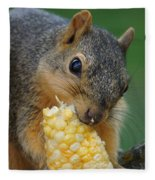 Squirrel Eating Sweet Corn Fleece Blanket